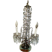 Magnificent Ornate Antique Girandole Table Lamp With Glass Crystals and Hanging Swags, Marble Base