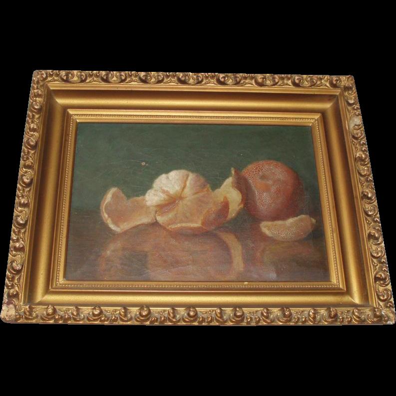 Beautiful Antique Still Life Oil Painting of Oranges, Fruit