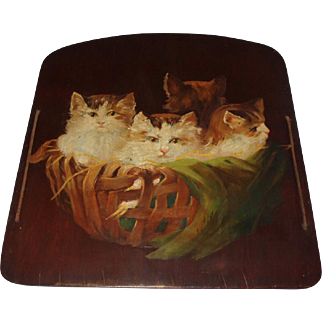 Beautiful Old Oil Painting of Kittens in a Basket