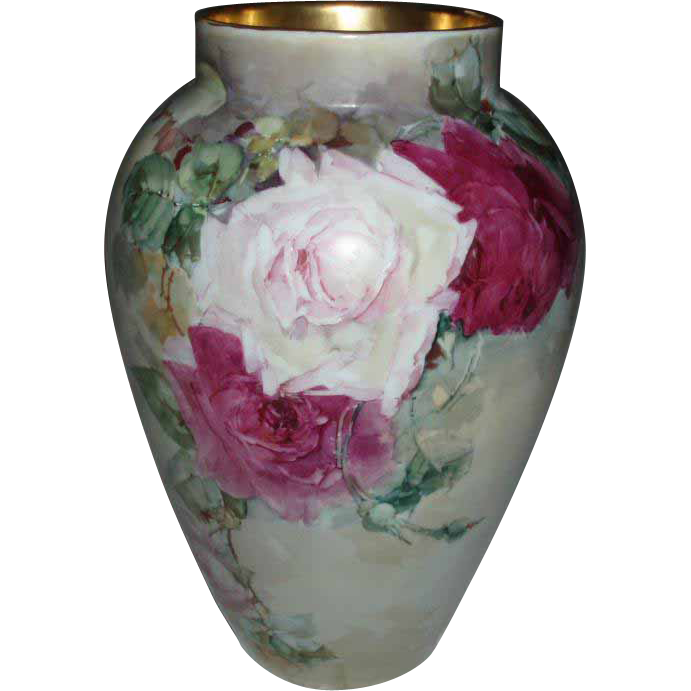 Gorgeous Antique French Limoges Porcelain Vase With Hand Painted Roses