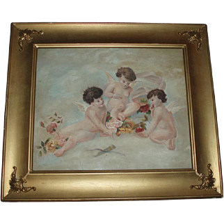 Heavenly Antique Oil Painting of Cherubs and Roses