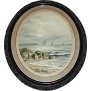 19th Century European Seascape Watercolor Painting Signed Hasson