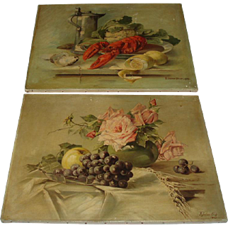 Antique Pair of Amazing Still Life Oil Paintings, Roses and Lobster, Signed Welsh 1903, 1906