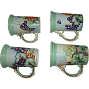 Lovely Antique French Limoges Tankard Mugs, Set of 4, Hand Painted Grapes