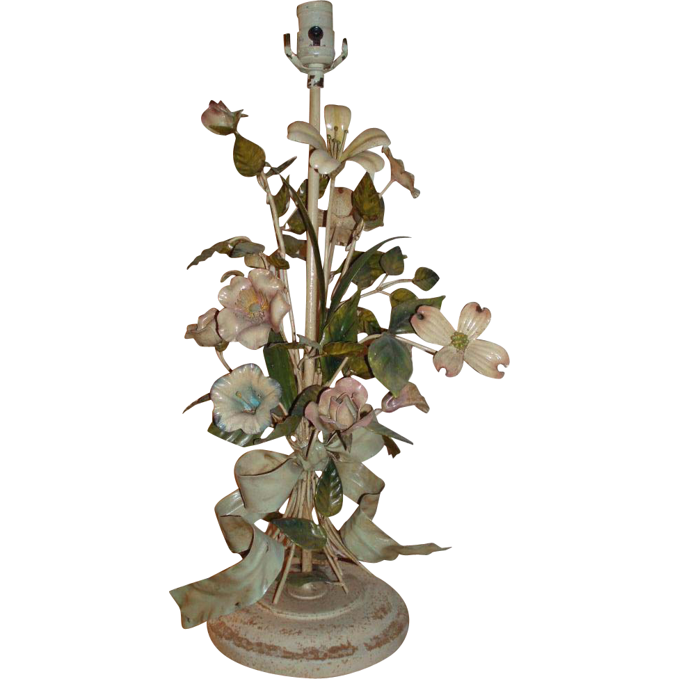 Beautiful Vintage Tole Metal Table Lamp With Bow and Flowers
