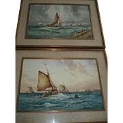 Fabulous Pair of Aubrey Ramus (Francis E. Jamieson 1895-1950) Watercolors, Seascapes