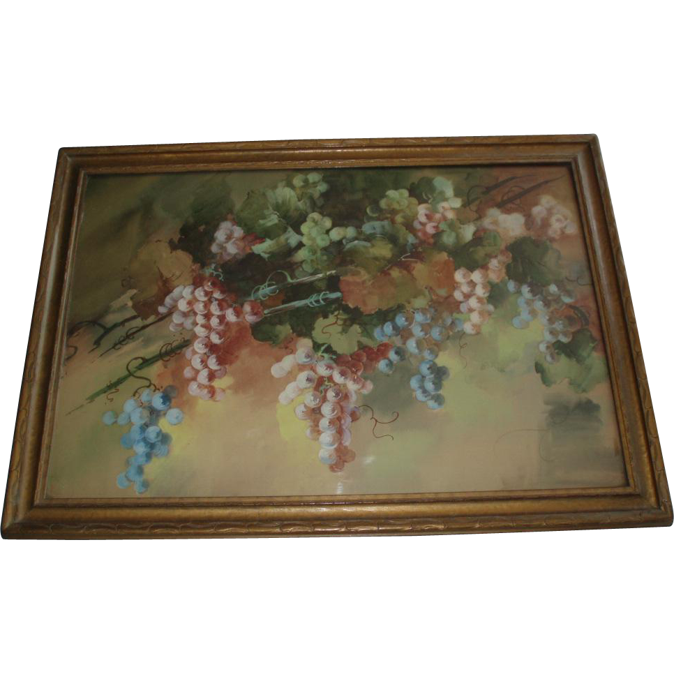 Antique Still Life of Grapes Watercolor Painting