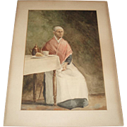 Antique Old Woman Watercolor Painting