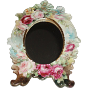 Lovely Ornate Antique French Limoges Porcelain Frame With Mirror, Dreamy Pink Roses