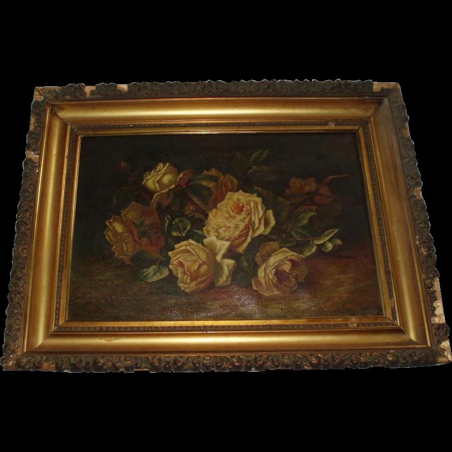 Franz Joseph Rederer Still Life Roses Oil Painting In