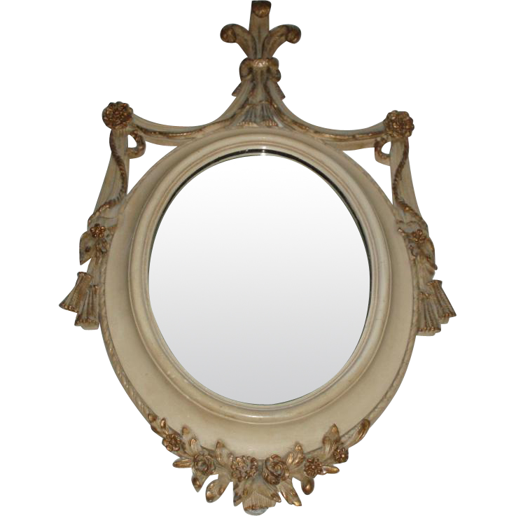 Stunning Antique Wood Mirror With Gesso Florettes and Tassels, One-of-a-Kind