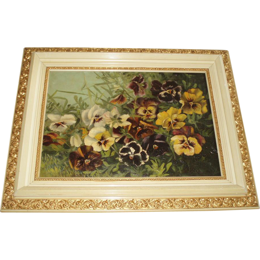 Magnificent Antique Oil Painting of Pansies in Glorious Original Frame