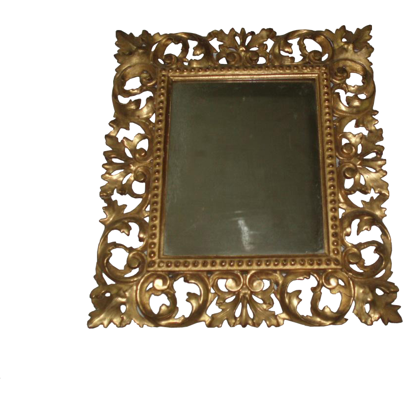 Fine Antique Ornate Rococo Gesso Carved Wood Frame With Mirror