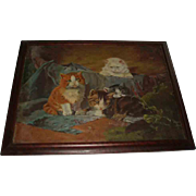 Antique Oil Painting of Four Kittens - Red Tag Sale Item