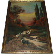 Antique Oil Painting Landscape With Sheep and Dog, Signed