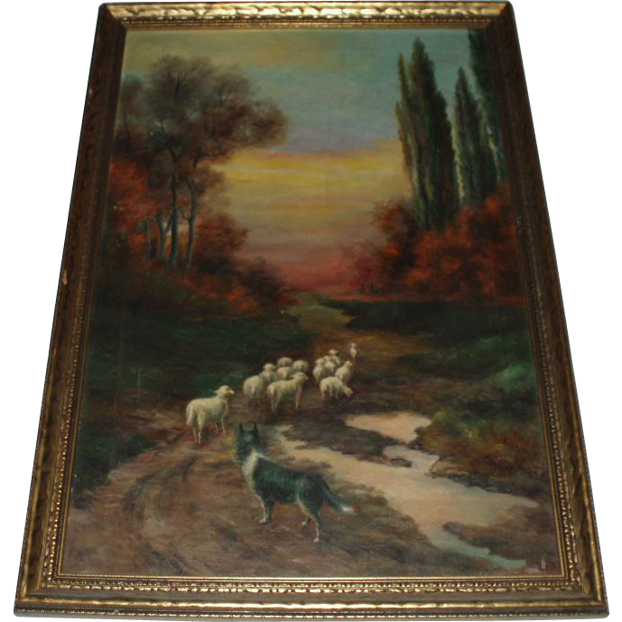 Antique Oil Painting Landscape With Sheep And Dog Signed