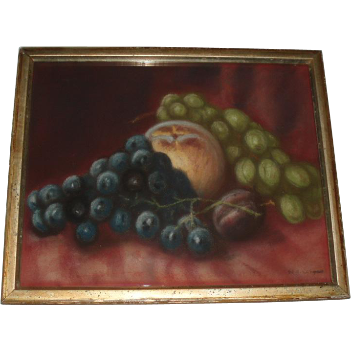 Old Still Life Fruit Pastel Painting, Signed 1908