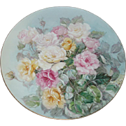 Beautiful Old Porcelain Noritake Nippon Large Roses Charger Mint, Signed