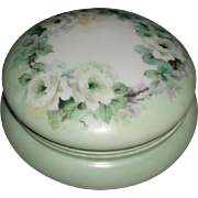Beautiful Antique French Limoges Porcelain Vanity Jewel Box With White Roses