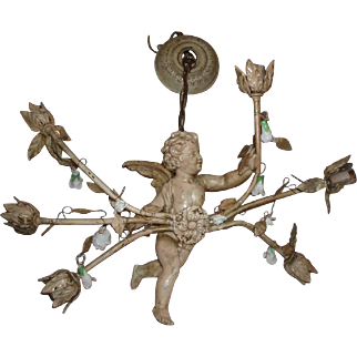 Awesome Vintage Metal Cherub Chandelier With Six Arms, Tole Leaves, and Porcelain Flowers
