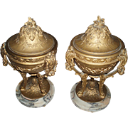 Vintage Pair of Ornate Metal Covered Urns With Footed Marble Bases