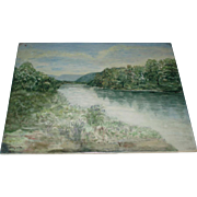 Fine Art, Large Antique French Limoges Porcelain Plaque Landscape With River Signed FH Myers