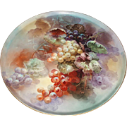 Exquisite Masterpiece Antique French Limoges Porcelain Wall Plaque or Charger Grapes Still Life Painting 17-1/2""