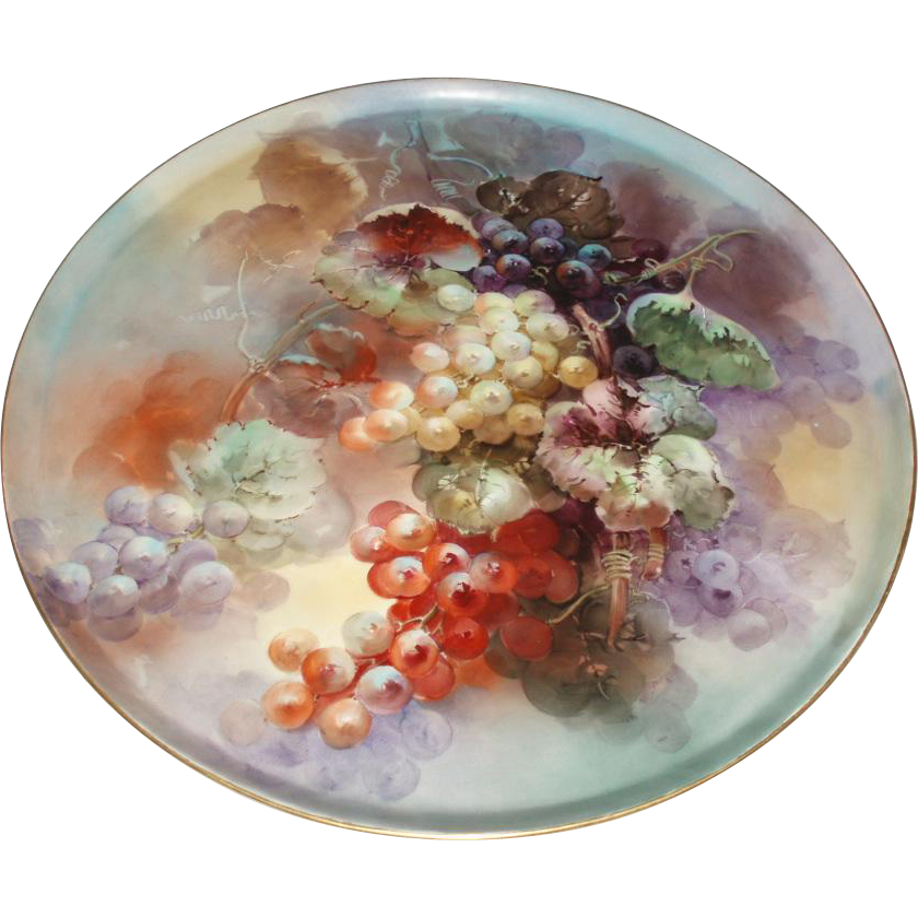 SALE PENDING - Exquisite Masterpiece Antique French Limoges Porcelain Wall Plaque or Charger Grapes Still Life Painting 17-1/2""