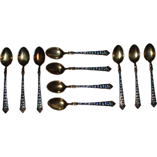 Beautiful Antique Set of 10 Sterling Silver Enameled Demitasse Spoons Blue and White