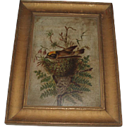 Victorian Oil Painting of a Bird in a Nest, Signed