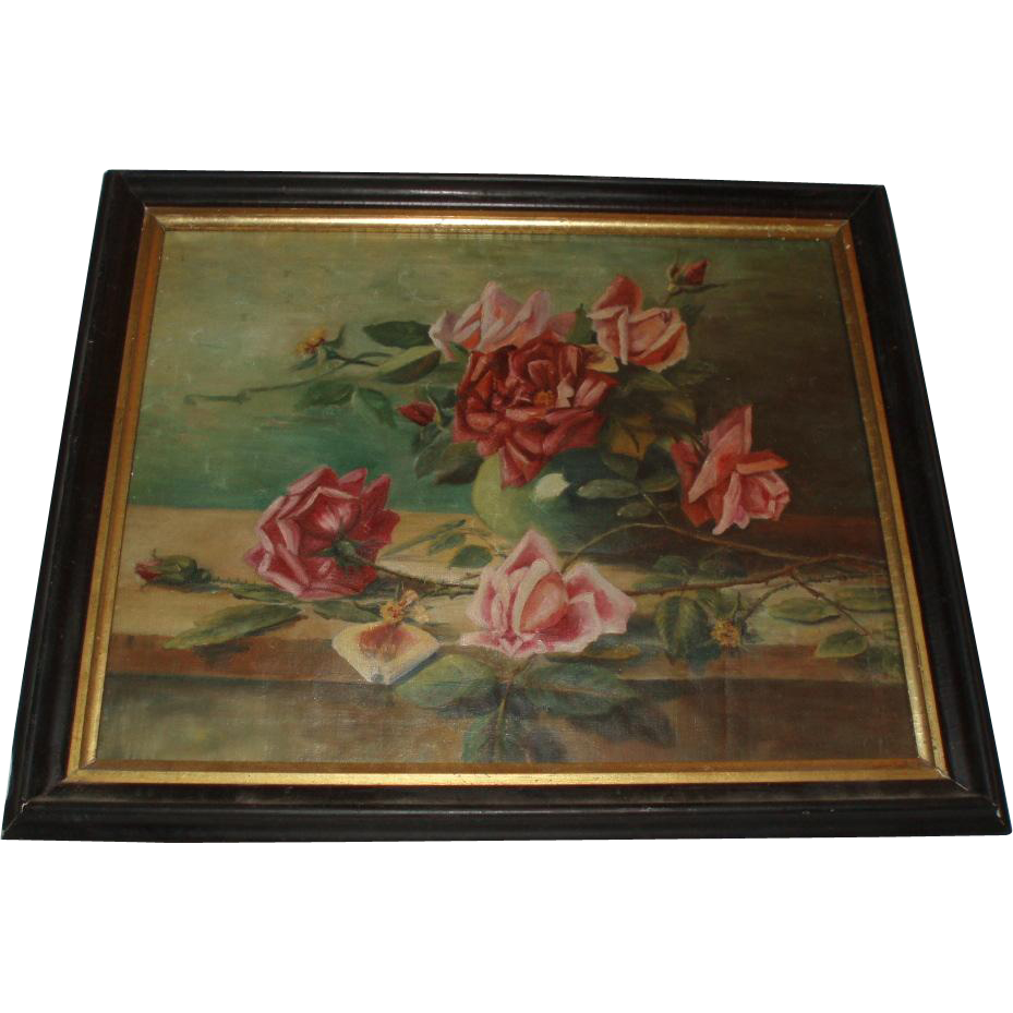 Antique Oil Painting on Canvas of Beautiful Roses