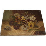 Antique Pansies Oil Painting