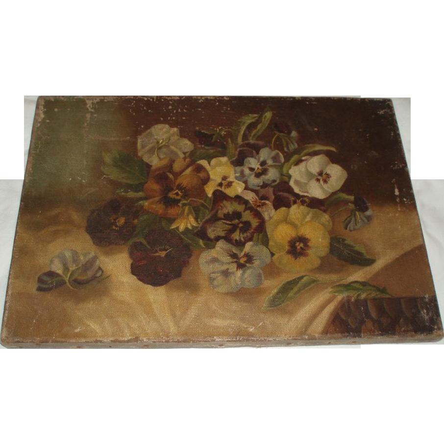Antique Pansies Oil Painting