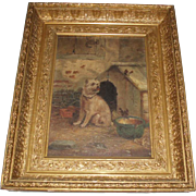 Fine Antique Oil Painting of a Terrier Dog