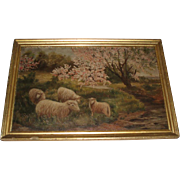 Antique Oil Painting of Sheep, Signed