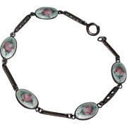 Gorgeous Old Sterling Silver and Guilloche Enamel Pink Roses Bracelet