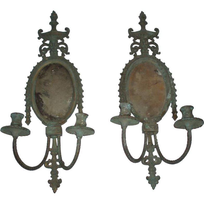 Large Vintage Pair of Metal Candle Wall Sconces With Aged Verdigris Patina