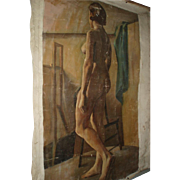 Large Vintage Nude Woman Oil Painting Portrait on Canvas
