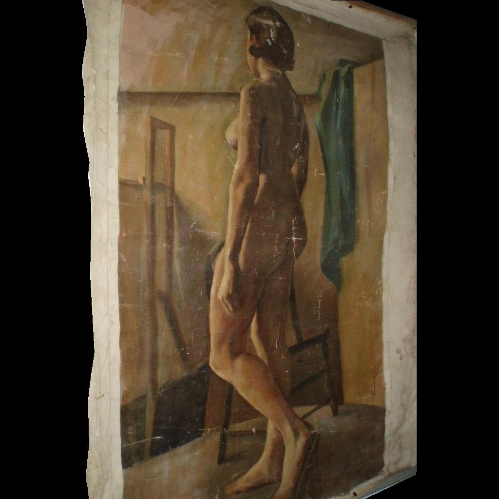 Large Vintage Nude Woman Oil Painting Portrait on Canvas