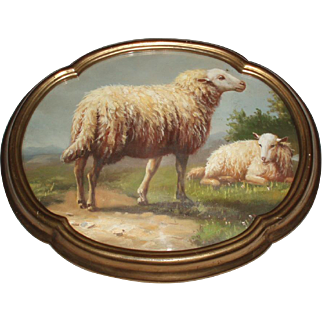 Fine Antique Oil Painting of Sheep