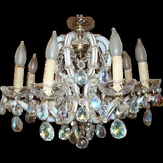 Stunning Vintage Crystal Opalescent Glass 8-Arm Chandelier, Acme Lanterns