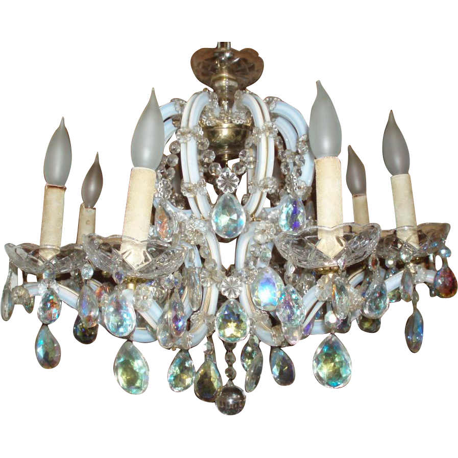 Stunning Vintage Crystal Opalescent Glass 8-Arm Chandelier, Acme Lanterns