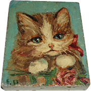 Precious Vintage Kitten Cat Oil Painting on Block, Pink Bow and Rose