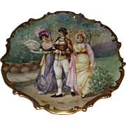 "Stunning 15-1/2"" Antique French Limoges Porcelain Rococo Plaque Signed Dubois, Figural Garden Scene With Roses"