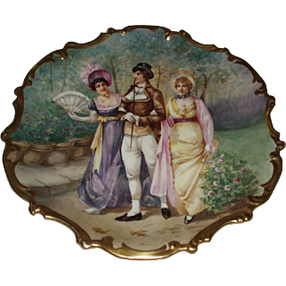 """Stunning 15-1/2"""" Antique French Limoges Porcelain Rococo Plaque Signed Dubois, Figural Garden Scene With Roses"""
