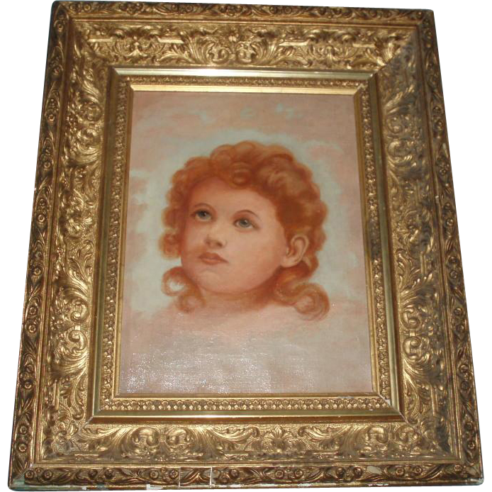 Antique Angelic Portrait Oil Painting on Canvas