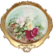 "Magnificent Antique French Limoges Framed 16"" Roses Tray Plaque in Original Gesso Frame"