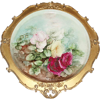 """Magnificent Antique French Limoges Framed 16"""" Roses Tray Plaque in Original Gesso Frame"""