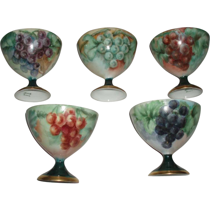 Pretty Antique Set of Bavarian Porcelain Punch or Sherbet Cups, Hand Painted Grapes Like Limoges