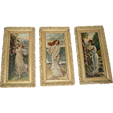 Magnificent Antique Trio of Victorian Oil Paintings of Beautiful Women - Red Tag Sale Item
